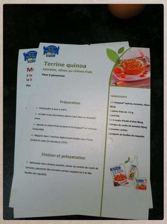 recette terrine quinoa atelier bio nutrition bjorg