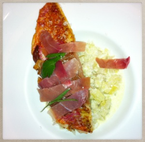 filet de rouget, jambon cru, risotto de fenouil